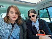 In the car with Noémie Merlant, we're on our way to lunch.