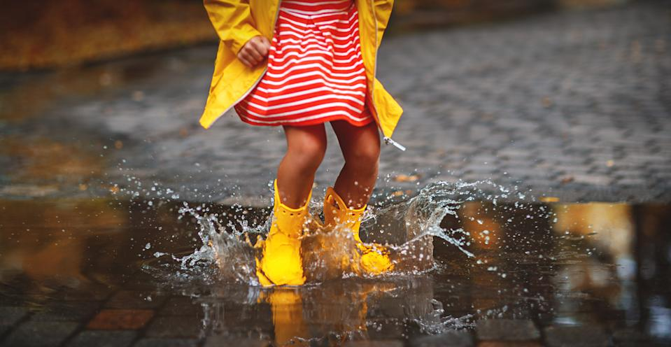 happy child in yellow rubber boots  in puddle on an autumn walk