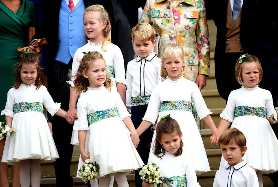 Princess Charlotte, Savannah Phillips, Maud Windsor, Prince George, Mia Grace Tindall, Theodora Williams and Louis de Givenchy | REX/Shutterstock