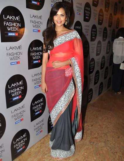 Gupta wears a Manish Malhotra sari to Lakmé Fashion Week, March 2013