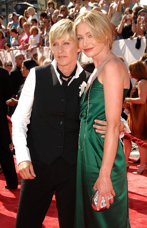 "The California Supreme Court ruled that the ban on same-sex marriage was unconstitutional in May, legalizing gay and lesbian marriages. After going back and forth on having a large, star-studded wedding, Ellen DeGeneres and Portia de Rossi decided on an intimate ceremony at their Beverly Hills home. The two were wed in front of 19 guests on August 16, 2008. <a href=""http://www.infdaily.com"" target=""new"">INFDaily.com</a> - June 20, 2008"