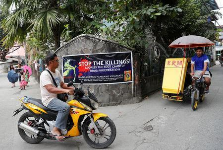 A banner opposing drug related killings is pictured along a street in Barangay Bagong Silangan, Quezon City, Metro Manila, in the Philippines November 22, 2017. REUTERS/Erik De Castro