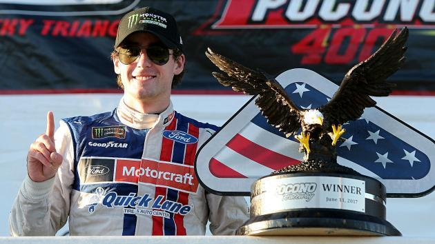 Ryan Blaney celebrates into the night with Dale Jr., Danica after first Cup win