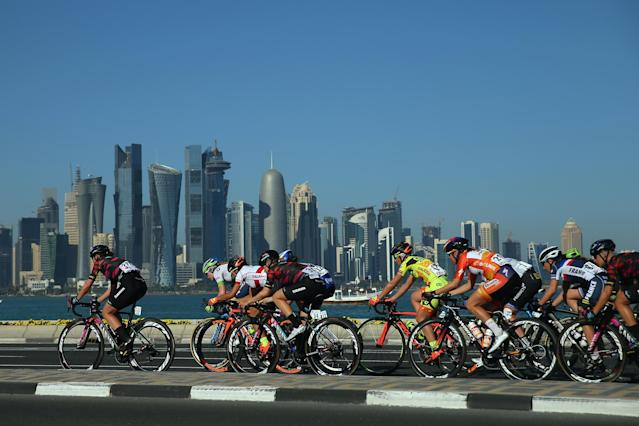 The Canyon SRAM racing team in Doha, Qatar in 2017. (Bryn Lennon/Getty Images)