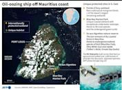 A map of Mauritius locating unique protected wildlife sites threatened by a fuel spill from a stricken cargo vessel