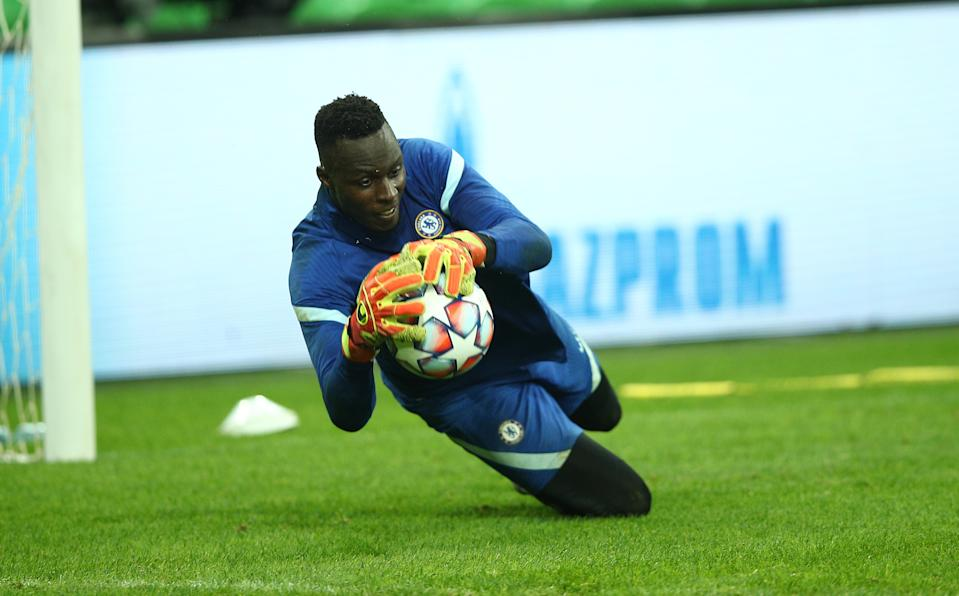 KRASNODAR, RUSSIA - OCTOBER 27: Edouard Mendy in training  ahead of the UEFA Champions League Group E stage match between Chelsea FC and FC Krasnodar at Krasnodar Stadium on October 27, 2020 in Krasnodar, Russia. (Photo by Chris Lee - Chelsea FC/Chelsea FC via Getty Images )