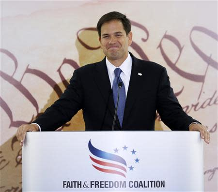 Senator Marco Rubio (R-FL) addresses the Faith & Freedom Coalition Road to Majority Conference Kickoff Luncheon in Washington in this June 13, 2013, file photo. REUTERS/Gary Cameron/Files