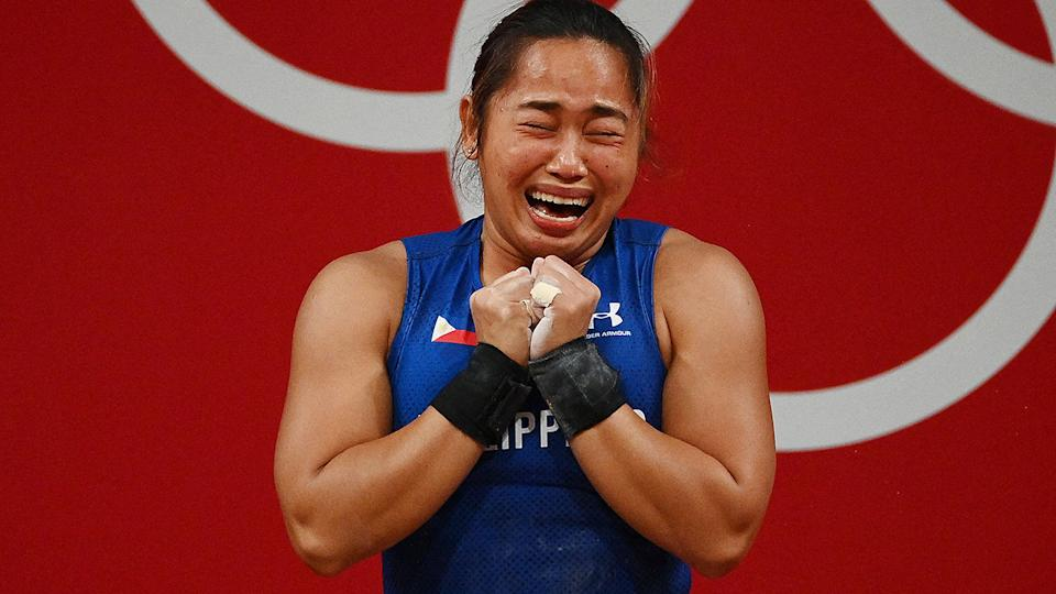 Hidilyn Diaz, pictured here after placing first in the women's 55kg weightlifting competition.