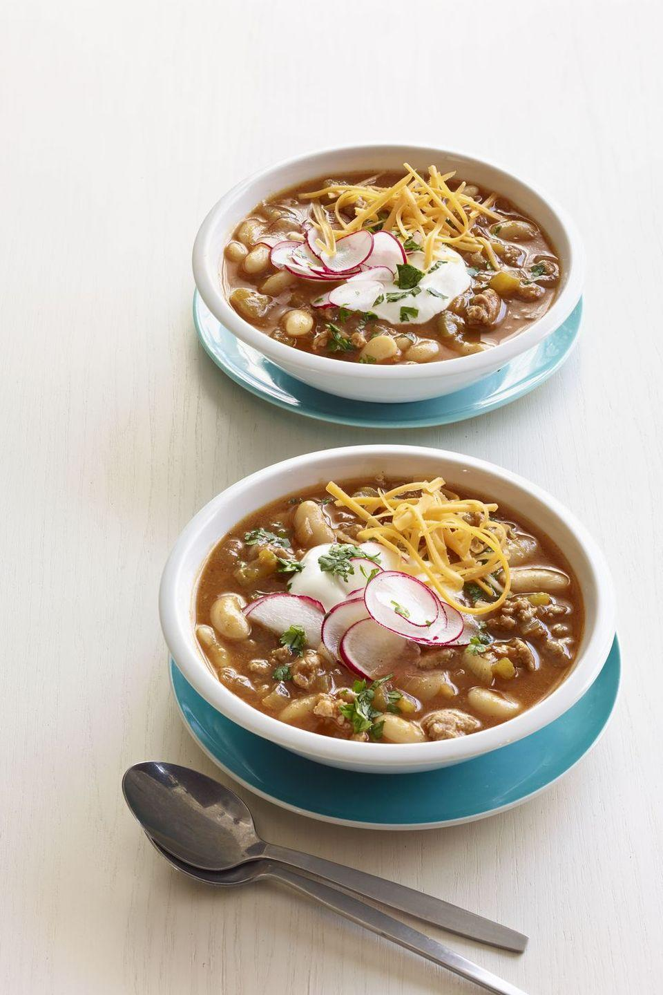 "<p>If you're not having pumpkin with your chili, you're missing out. This savory fall flavor combo happens to taste amazing year-round.</p><p><em><a href=""https://www.goodhousekeeping.com/food-recipes/a14898/slow-cooker-turkey-pumpkin-chili-recipe-wdy0115/"" rel=""nofollow noopener"" target=""_blank"" data-ylk=""slk:Get the recipe for Slow Cooker Turkey Pumpkin Chili »"" class=""link rapid-noclick-resp"">Get the recipe for Slow Cooker Turkey Pumpkin Chili »</a></em></p>"