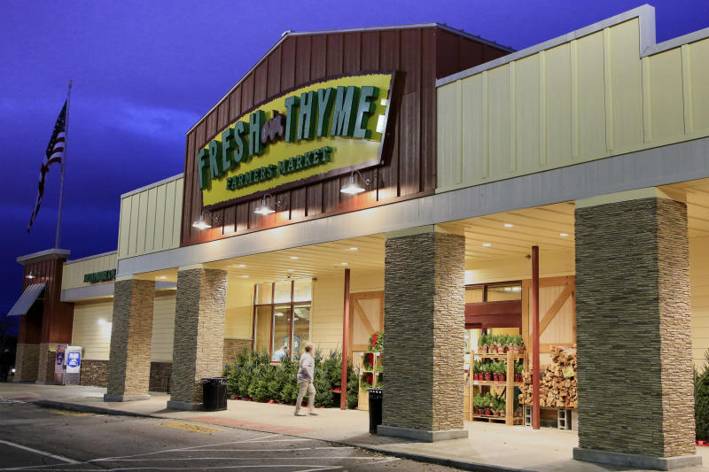 A Fresh Thyme store is seen in Omaha, Neb., Wednesday, Nov. 20,2019. Nebraska and federal health officials say a hepatitis A outbreak that includes Nebraska, Indiana and Wisconsin has been traced to blackberries sold in Fresh Thyme grocery stores. The Nebraska Department of Health and Human Services says in a news release Wednesday that the outbreak began several week ago in Nebraska. The department says it, the U.S. Food and Drug Administration and the Centers for Disease Control and Prevention are investigating and have confirmed 11 cases. 2019. (AP Photo/Nati Harnik)