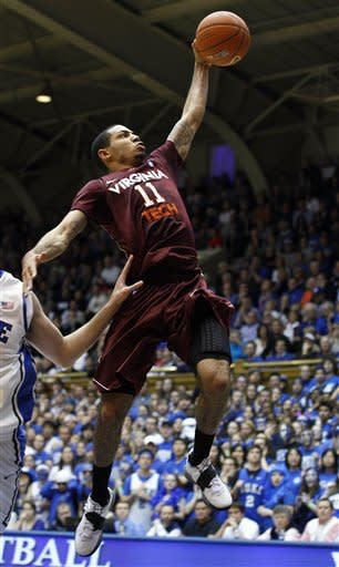 Virginia Tech's Erick Green (11) drives for a basket against Duke during the second half of an NCAA college basketball game in Durham, N.C., Saturday, Feb. 25, 2012. Duke won 70-65 in overtime. (AP Photo/Gerry Broome)