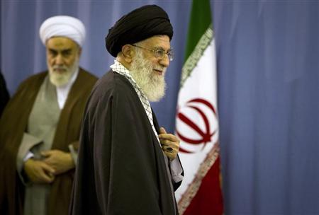 Iran's Supreme Leader Ayatollah Khamenei departs after casting his ballot in the parliamentary election in Tehran