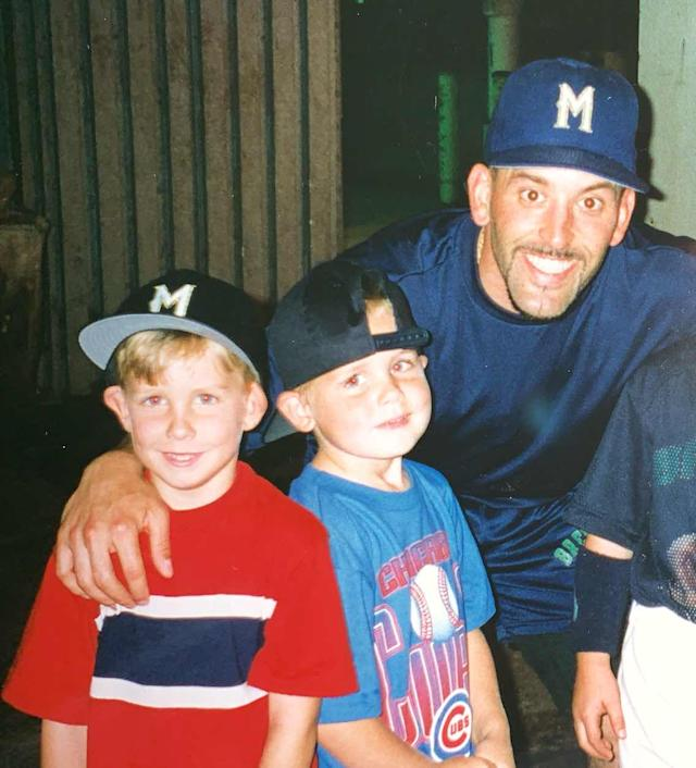 Jeff (left) and Ryan McNeil with former major leaguer Fernando Vina at Milwaukee County Stadium. (Courtesy of the McNeil family)