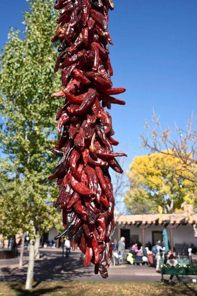 PHOTO: A decorative string of dried red chile pods, a ristra, hangs in the Plaza in Santa Fe, N.M., Nov. 11, 2017.  (Robert Alexander/Getty Images, FILE)