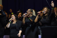 Singers pay a musical tribute during funeral services of Daunte Wright at Shiloh Temple International Ministries in Minneapolis, Thursday, April 22, 2021. Wright, 20, was fatally shot by a Brooklyn Center, Minn., police officer during a traffic stop. (AP Photo/Julio Cortez, Pool)