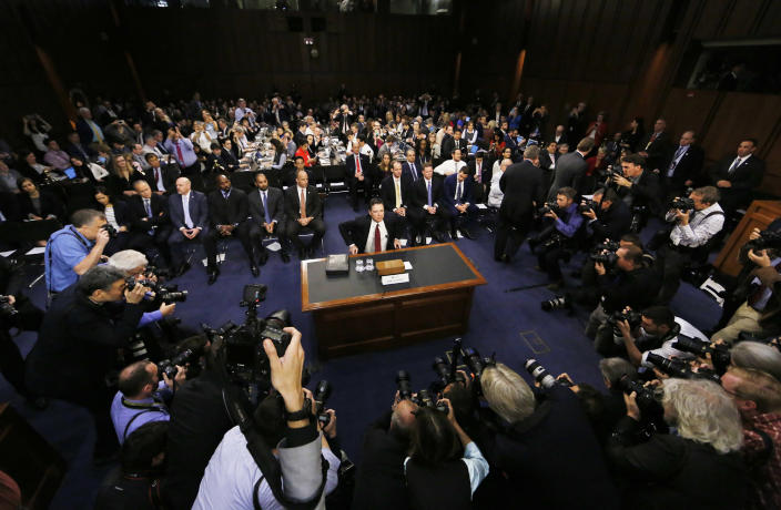 <p>Former FBI Director James Comey is seated prior to testifying before a Senate Intelligence Committee hearing on Russia's alleged interference in the 2016 presidential election on Capitol Hill in Washington, June 8, 2017. (Photo: Jim Bourg/Reuters) </p>