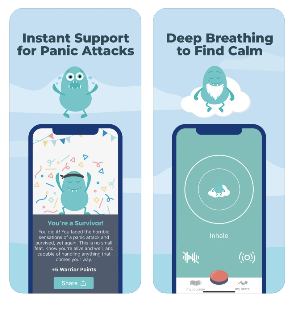 """<p>This one is designed specifically to help you work through a panic attack right at that very (and often scary) moment. When you tap and hold the red button in the app, you'll get instant support with calming statements, guided breathing, and other therapist-approved techniques. </p><p><a class=""""link rapid-noclick-resp"""" href=""""https://apps.apple.com/us/app/rootd-panic-attack-relief/id1289018369#?platform=iphone"""" rel=""""nofollow noopener"""" target=""""_blank"""" data-ylk=""""slk:DOWNLOAD NOW FROM THE APP STORE"""">DOWNLOAD NOW FROM THE APP STORE</a></p><p><a class=""""link rapid-noclick-resp"""" href=""""https://play.google.com/store/apps/details?id=com.rootd&hl=en_US"""" rel=""""nofollow noopener"""" target=""""_blank"""" data-ylk=""""slk:DOWNLOAD NOW FROM GOOGLE PLAY"""">DOWNLOAD NOW FROM GOOGLE PLAY</a></p>"""