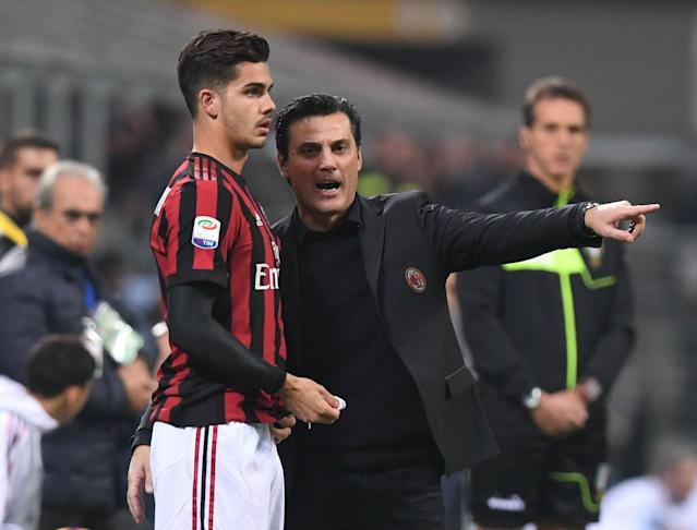 Vincenzo Montanella, right, and Andre Silva are trying to guide AC Milan back to the Italian summit. (Reuters)