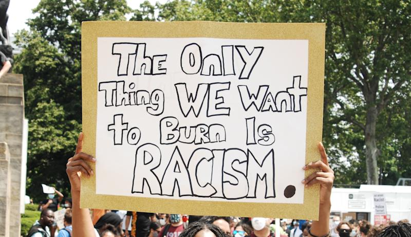 Like many other protests across the US, the demonstration on May 30 in Philadelphia started off peaceful. Source: Sipa USA