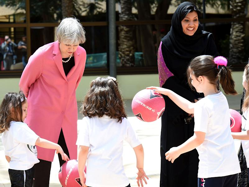 Theresa May and Princess Reema, vice-president of the Saudi General Sports Authority: Reuters