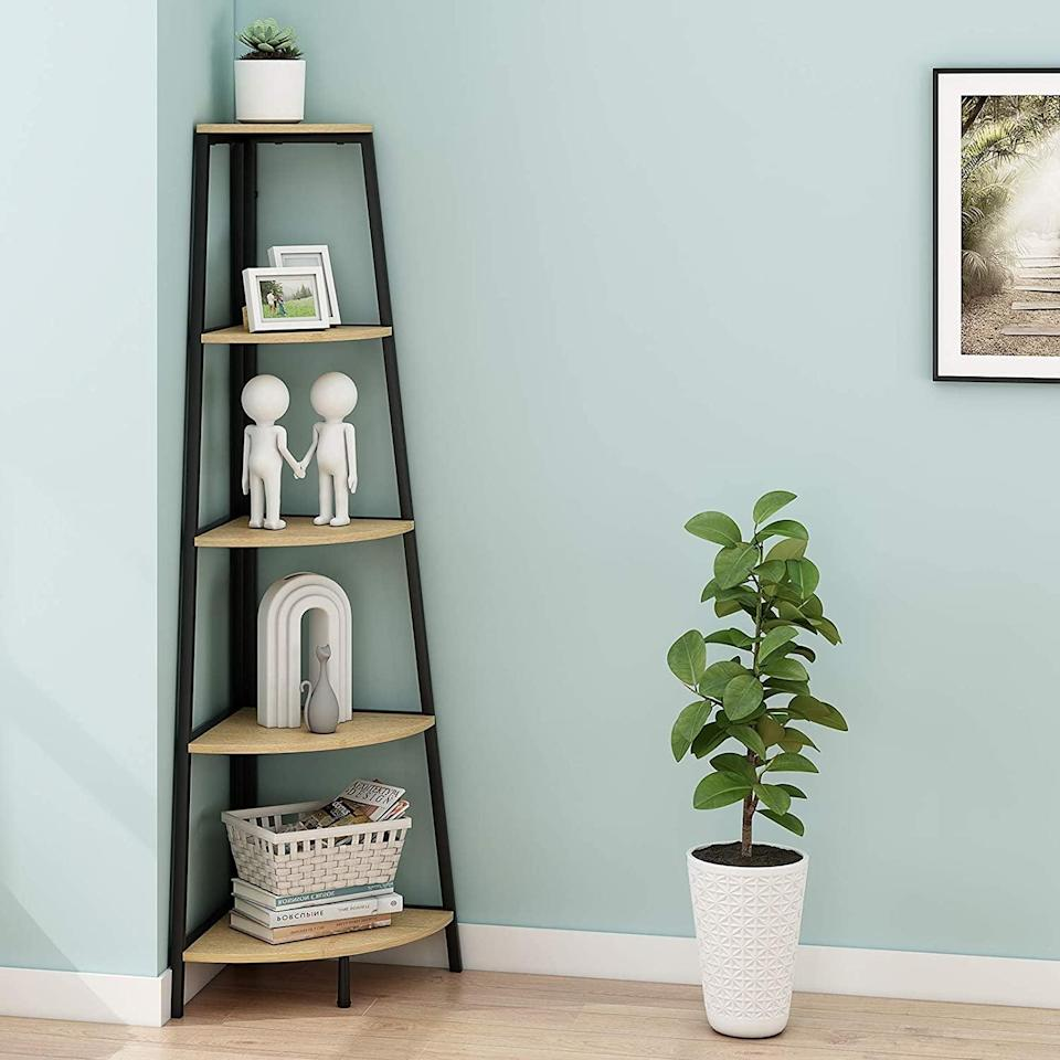 <p>These <span>Homyshopy Industrial Corner Shelves</span> ($100) are the ideal size for small apartments.</p>