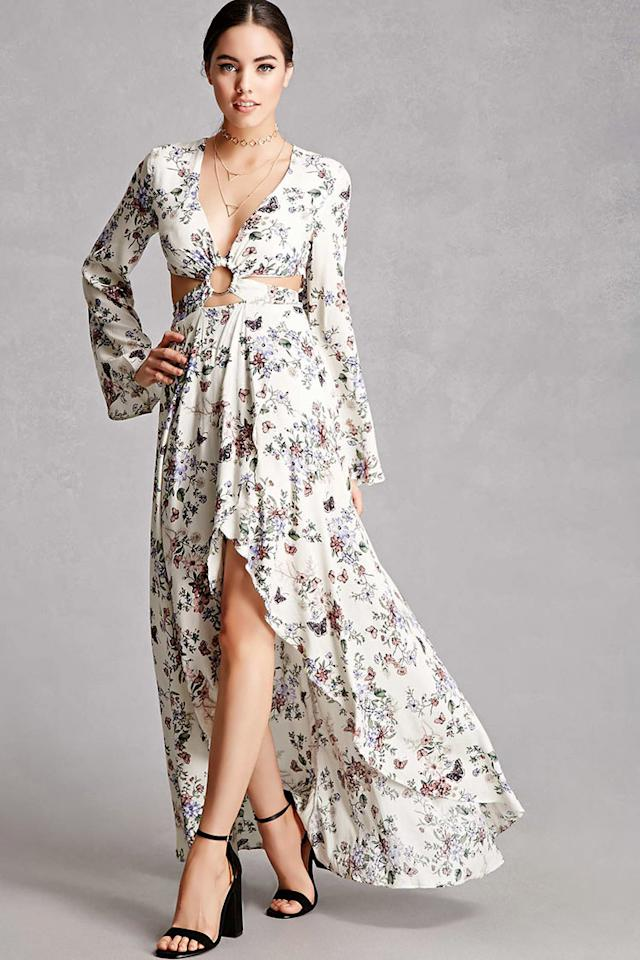 """<p><strong>Buy It!</strong> Selfie Leslie Floral Maxi Dress, $58; <a rel=""""nofollow"""" href=""""http://www.anrdoezrs.net/links/8029122/type/dlg/sid/POFASSpringTrendsForLessKPMarch17/http://www.forever21.com/Product/Product.aspx?BR=f21&Category=dress_maxi&ProductID=2000228140&VariantID="""">forever21.com</a></p>"""