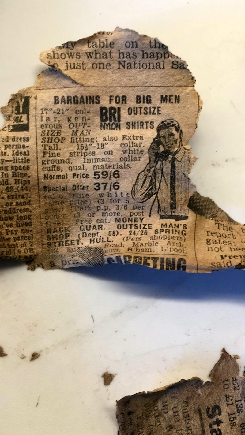 A piece from a newspaper found inside the 120-year-old tunnel (SWNS)