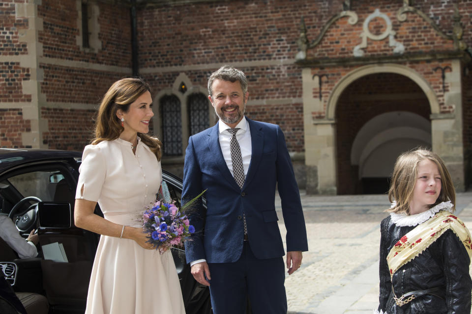 "Crown Princess Mary and Crown Prince Frederik of Denmark arrive to the exhibition opening of ""The Faces of the Queen"" celebrating Queen Margrethe II of Denmark at Frederiksborg Museum of National History on June 16, 2020 in Hillerod, Denmark. The exhibition is related to the 80th birthday of Queen Margrethe of Denmark and will show photos and paintings from 1940 - 2020 of the Queen. It is open for visitors from June 17 until December 31, 2020"