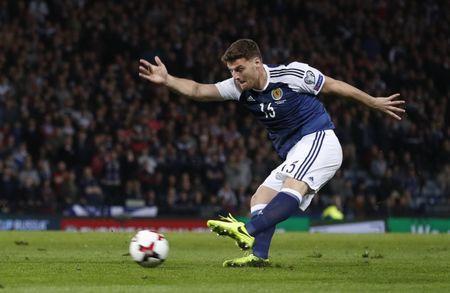 Scotland's Chris Martin scores their first goal