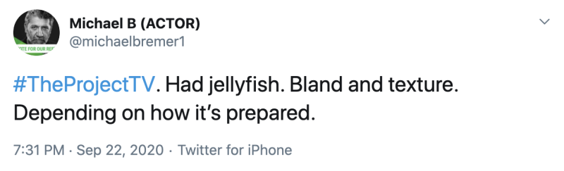 Some fans had tried jellyfish and didn't think it was very tasty. Photo: Twitter