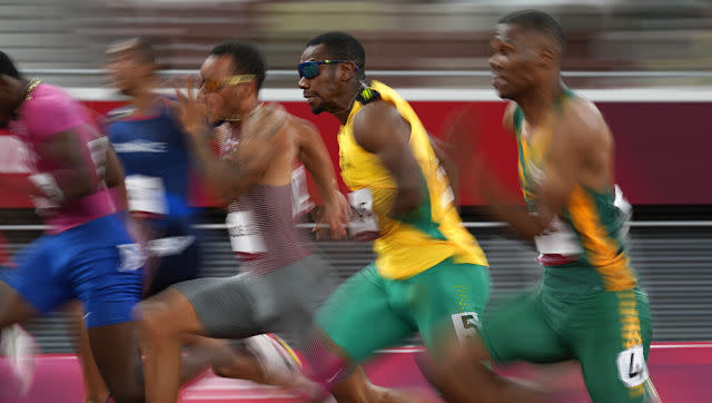 Jamaica's Yohan Blake failed to qualify for the men's 100m final, finishing in sixth position during the semi-finals. AP