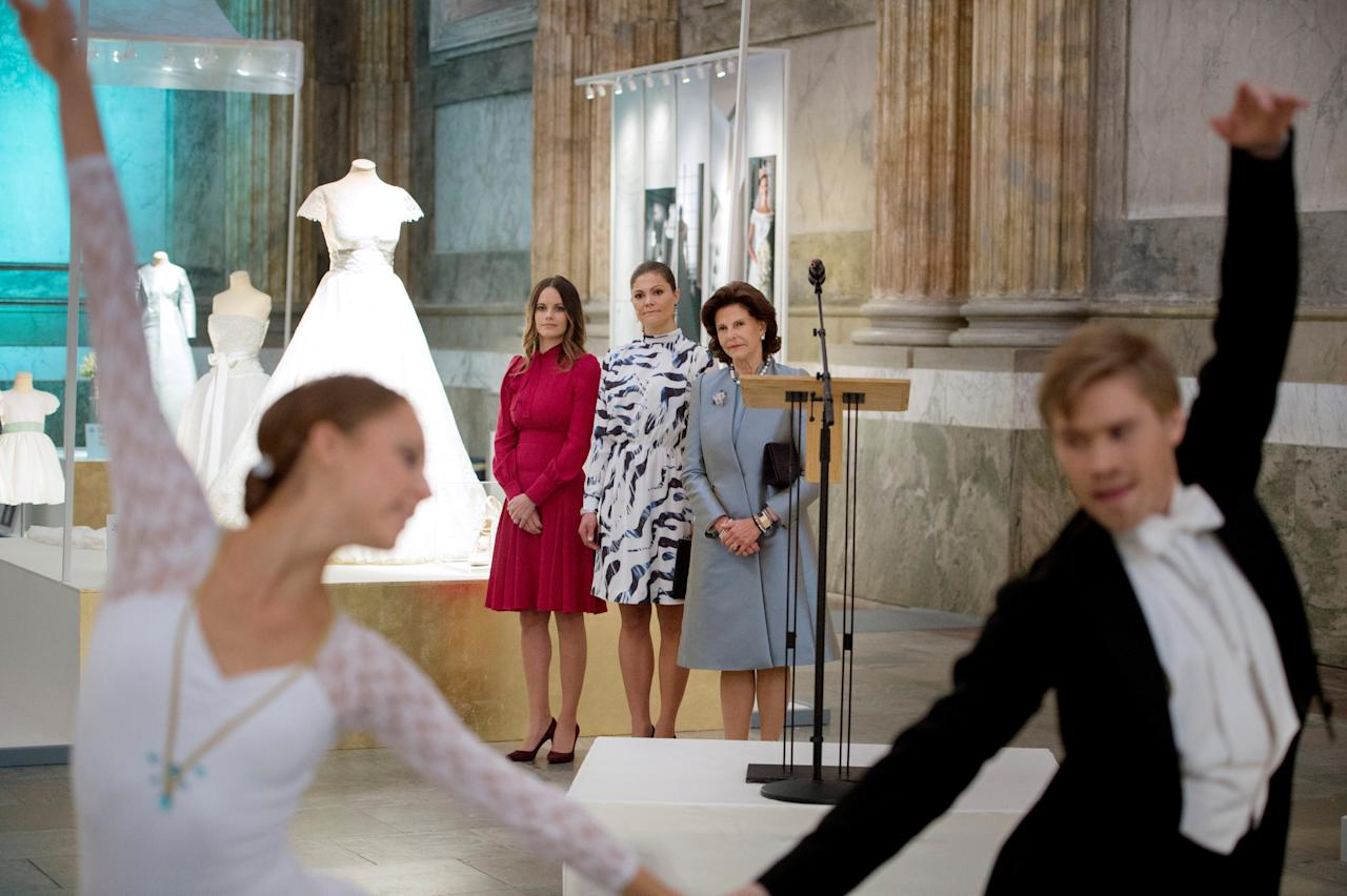 "Sweden's Princess Sofia, Crown Princess Victoria and Queen Silvia (L-R) attend the opening of the exhibition ""Royal wedding dresses 1976-2015""  at the Royal Palace in Stockholm, Sweden October 17, 2016. 2016 marks 40 years since Miss Silvia Sommerlath and King Carl XVI Gustaf were married at Stockholm Cathedral and the bride became Queen of Sweden. The exhibition is part of this 40th anniversary featuring wedding dresses worn by five royal brides over the course of four decades. TT NEWS AGENCY/Jessica Gow via REUTERS ATTENTION EDITORS - THIS IMAGE WAS PROVIDED BY A THIRD PARTY. FOR EDITORIAL USE ONLY. NOT FOR SALE FOR MARKETING OR ADVERTISING CAMPAIGNS. SWEDEN OUT. NO COMMERCIAL OR EDITORIAL SALES IN SWEDEN. NO COMMERCIAL SALES."
