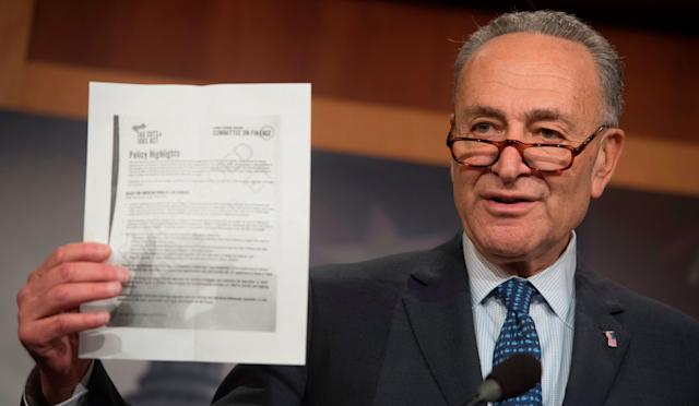 """Senate Minority Leader Chuck Schumer (D-N.Y.) said the GOP tax bill is """"lose-lose"""" for the Republican Party."""