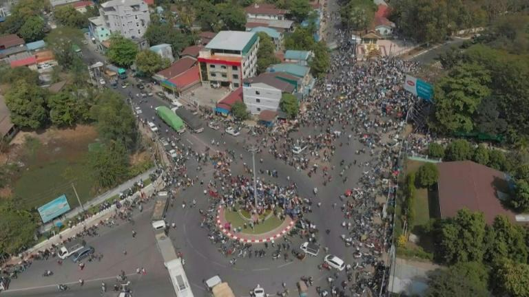 Aerial images of anti-coup protesters on streets