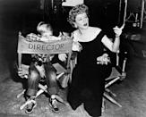 <p>Claire's son Charles joins her on the set of her film, <em>Borderline, </em>in the late 1940s<em>. </em>The Oscar-winning actress even let her son sit in the director's chair.</p>