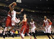 Feb 25, 2016; Portland, OR, USA; Portland Trail Blazers forward Maurice Harkless (4) blocks the shot of Houston Rockets forward Trevor Ariza (1) during the first quarter of the game at the Moda Center at the Rose Quarter. Mandatory Credit: Steve Dykes-USA TODAY Sports