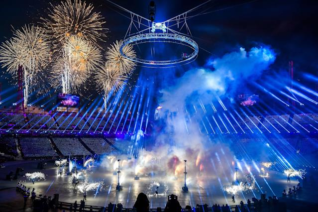 <p>A firework display is seen during the opening ceremony of the Pyeongchang 2018 Winter Olympic Games at the Pyeongchang Stadium on February 9, 2018. / AFP PHOTO / POOL AND AFP PHOTO / Jonathan NACKSTRAND </p>