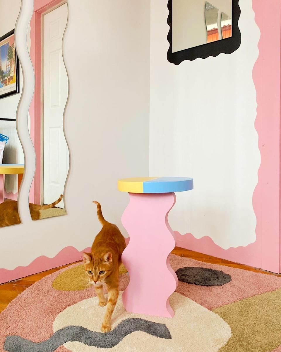 Even cats like Sophie Collé's squiggle side tables.