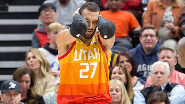 Utah Jazz star Rudy Gobert was livid after being ejected from Monday's game against the Toronto Raptors. (Russell Isabella-USA TODAY Sports)