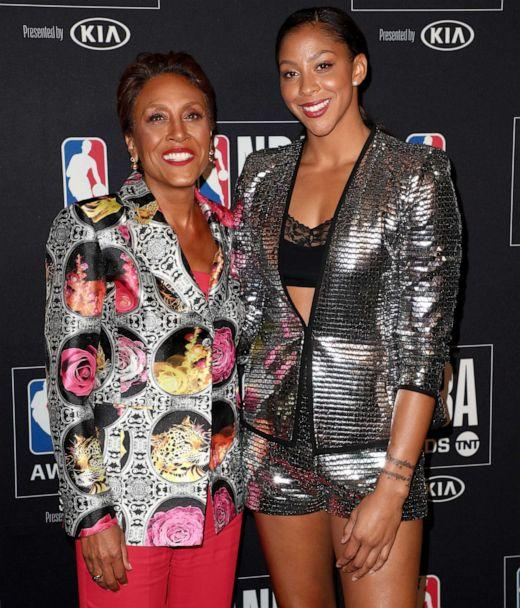 PHOTO: Robin Roberts, recipient of the Sager Strong Award, and Candace Parker pose in the press room during the 2019 NBA Awards at Barker Hangar on June 24, 2019 in Santa Monica, Calif. (Joe Scarnici/Getty Images, FILE)