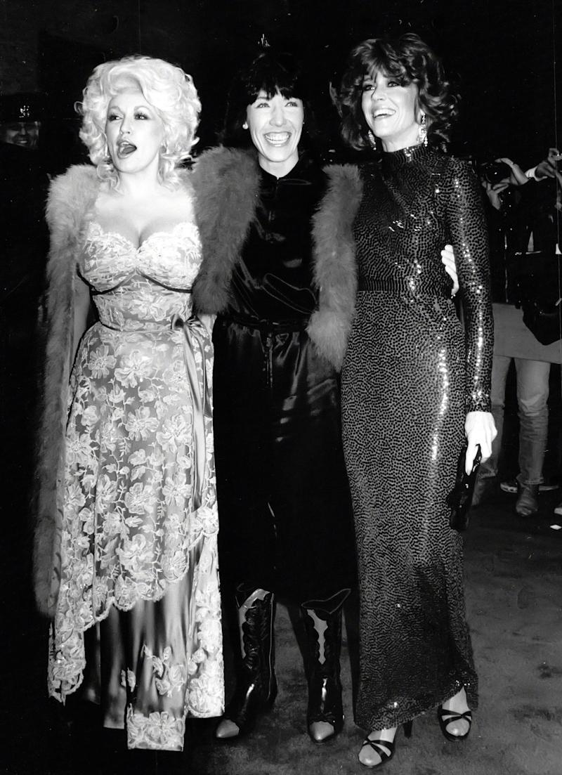 """The actress with Dolly Parton and Lily Tomlin at the premiere of """"9 to 5"""" in New York City."""