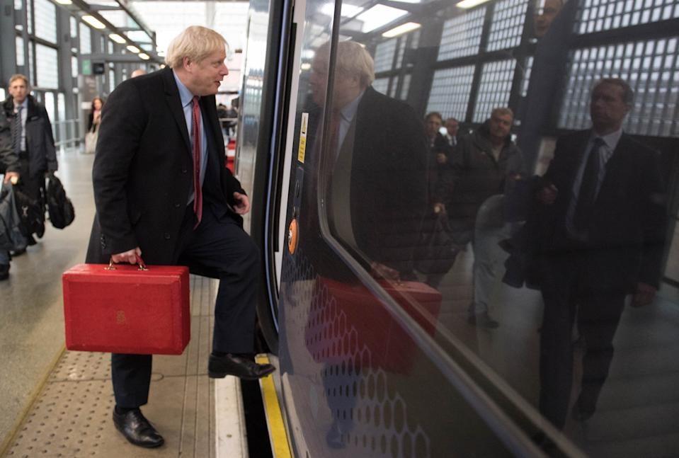 Prime Minister Boris Johnson at St Pancras Station, London to board a train to go on the General Election campaign train in Kent. (Photo by Stefan Rousseau/PA Images via Getty Images)