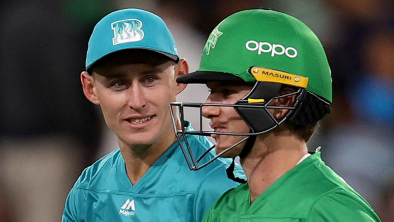 Marcus Labuschagne laughing with Adam Zampa during the Big Bash League.