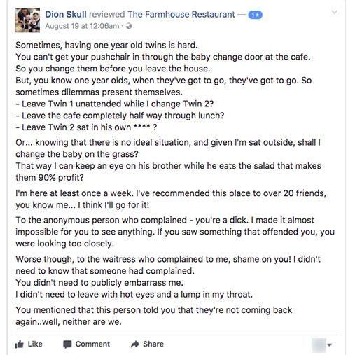 The mum shared her story on the restaurant's Facebook page. Photo: Facebook