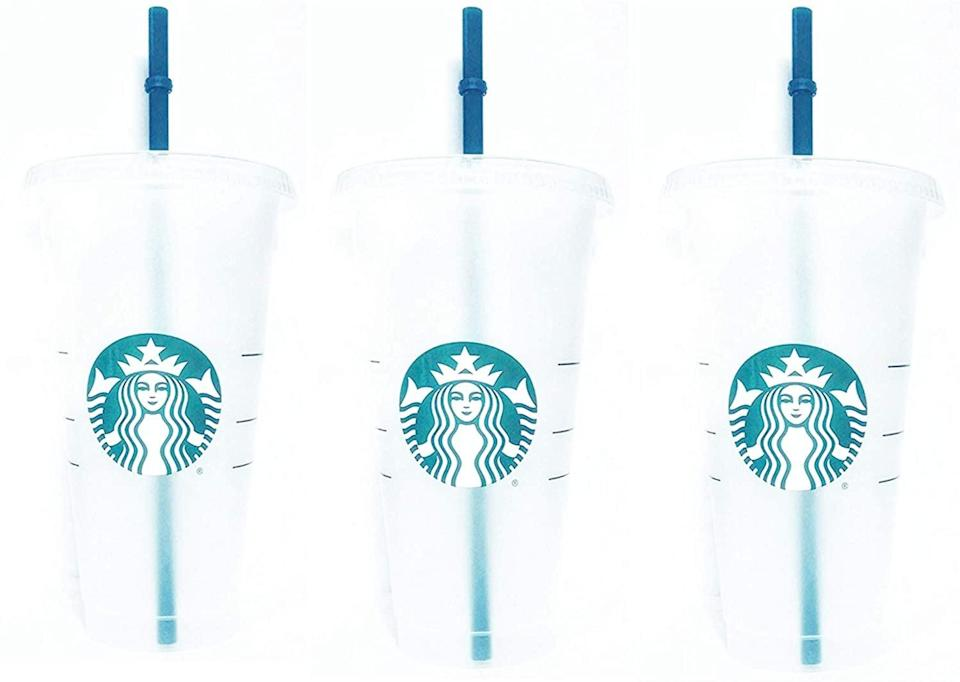 <p>If she loves iced-coffee she'll need these <span>Starbucks Reusable 3 Hard Plastic Venti Frosted Ice Cold Drink Cup With Lid and Green Straw w/Stopper</span> ($20).</p>