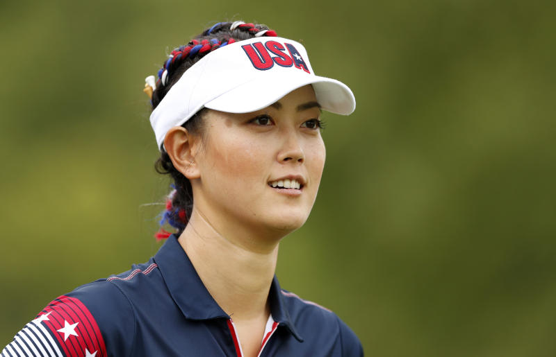 United States' Michelle Wie walks off the 18th tee during practice for the Solheim Cup golf tournament, Wednesday, Aug. 16, 2017, in West Des Moines, Iowa. (AP Photo/Charlie Neibergall)