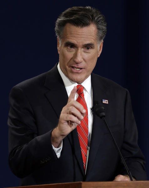 Republican presidential nominee Mitt Romney answers a question during the first presidential debate at the University of Denver, Wednesday, Oct. 3, 2012, in Denver. (AP Photo/Charlie Neibergall)