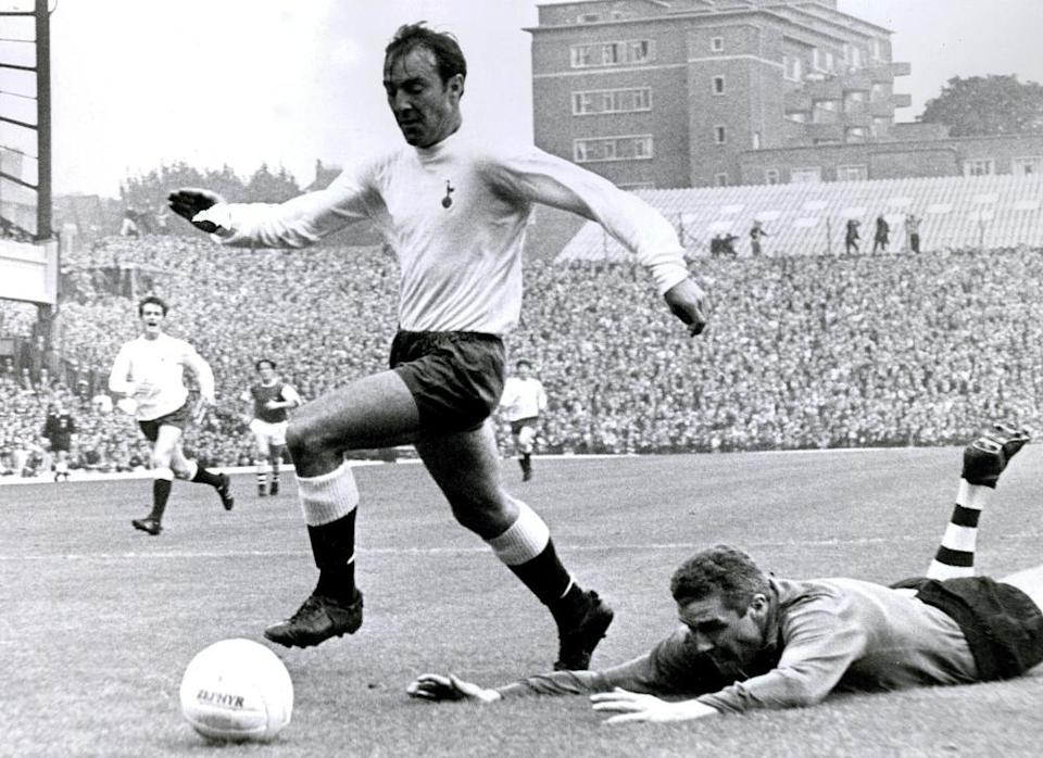 Jimmy Greaves playing for Tottenham Hotspur during the 1967-68 season.