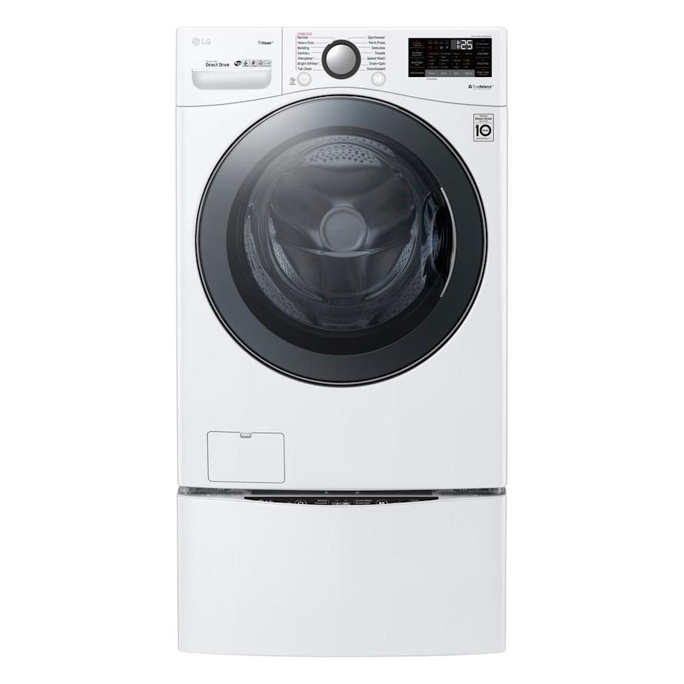"<p><strong>LG Electronics</strong></p><p>homedepot.com</p><p><a href=""https://go.redirectingat.com?id=74968X1596630&url=https%3A%2F%2Fwww.homedepot.com%2Fp%2FLG-Electronics-4-5-cu-ft-High-Efficiency-Ultra-Large-Smart-Front-Load-Washer-TurboWash360-Steam-Wi-Fi-in-White-ENERGY-STAR-WM3900HWA%2F304161255&sref=https%3A%2F%2Fwww.bestproducts.com%2Flifestyle%2Fg34618159%2Fblack-friday-cyber-monday-deals-2020%2F"" rel=""nofollow noopener"" target=""_blank"" data-ylk=""slk:Shop Now"" class=""link rapid-noclick-resp"">Shop Now</a></p><p><strong><del>$1199</del> $798 (33% off)</strong></p><p>Our top-rated washing machine, this LG model comes with a spacious 4.5-cubic-foot capacity, so there's plenty of room for a king-sized comforter or 20 pounds of laundry. If you want to take your laundry to the next level, you even have the option to <a href=""https://go.redirectingat.com/?id=74968X1547195&xs=1&url=http%3A%2F%2Fwww.homedepot.com%2Fp%2FLG-Electronics-29-in-1-0-cu-ft-SideKick-Pedestal-Washer-in-Graphite-Steel-WD200CV%2F206594729&sref=https%3A%2F%2Fwww.bestproducts.com%2Fappliances%2Fa13938132%2Freviews-front-and-top-loading-washing-machines%2F"" rel=""nofollow noopener"" target=""_blank"" data-ylk=""slk:add a second washer to it"" class=""link rapid-noclick-resp"">add a second washer to it</a>, so you can finish two loads at a time.</p>"
