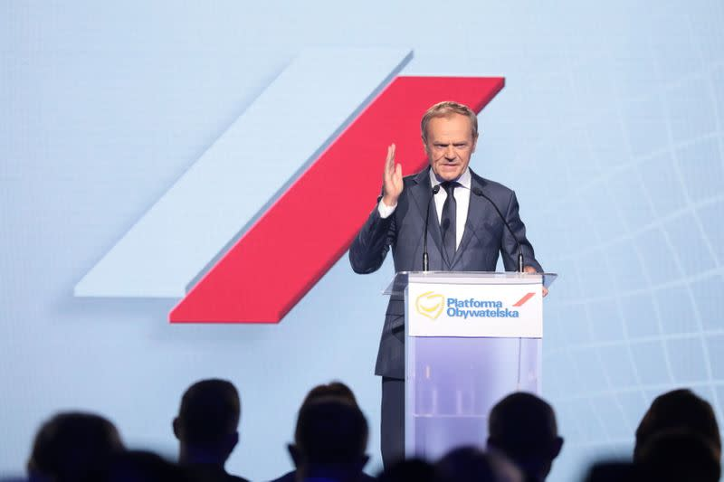 Former European Council President Tusk speaks during a party convention of Civic Platform in Warsaw